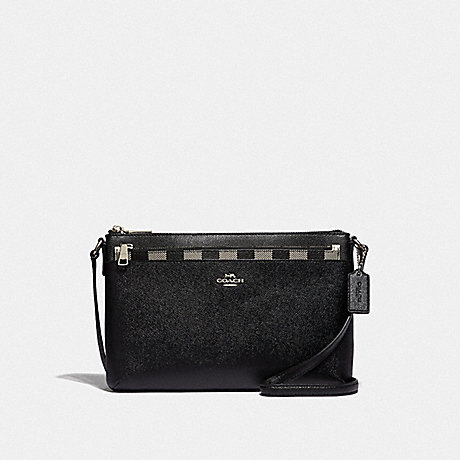 COACH F39607 EAST/WEST CROSSBODY WITH POP-UP POUCH WITH GINGHAM PRINT<br>蔻驰EAST/WEST论与弹袋和格打印 黑色或银色