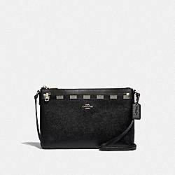 EAST/WEST CROSSBODY WITH POP-UP POUCH WITH GINGHAM PRINT - F39607 - BLACK/MULTI/SILVER