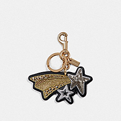 COACH F39610 Embroidered Shooting Star Bag Charm BLACK/GOLD