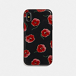 COACH F39613 Iphone Xr Case With Poppy Print BLACK/MULTICOLOR