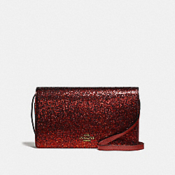 COACH F39640 Hayden Foldover Crossbody Clutch RUBY/LIGHT GOLD