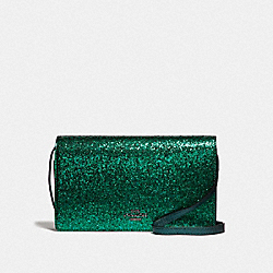 COACH F39640 Hayden Foldover Crossbody Clutch GREEN/BLACK ANTIQUE NICKEL
