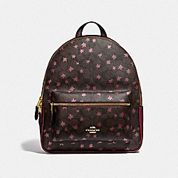 MEDIUM CHARLIE BACKPACK IN SIGNATURE CANVAS WITH POP STAR PRINT - F39645 - BROWN MULTI/LIGHT GOLD