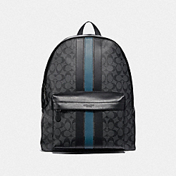 COACH F39646 Charles Backpack In Signature Canvas With Varsity Stripe BLACK BLACK MINERAL/BLACK ANTIQUE NICKEL
