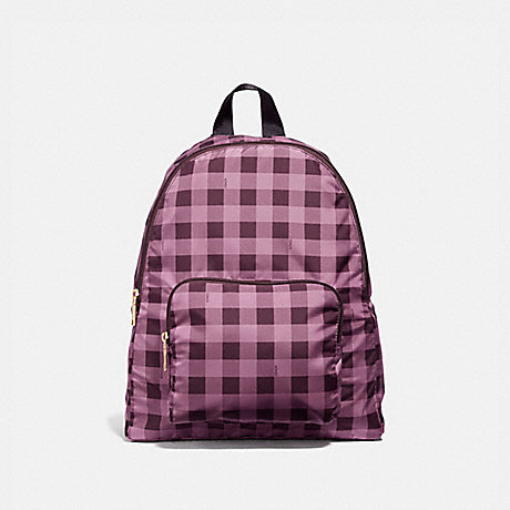 COACH F39648 PACKABLE BACKPACK WITH GINGHAM PRINT<br>蔻驰能背包里有条纹棉布印 草/MULTI/浅黄金