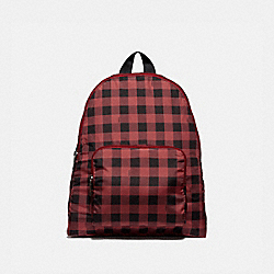 COACH F39648 Packable Backpack With Gingham Print RUBY MULTI/BLACK ANTIQUE NICKEL