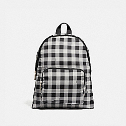 COACH F39648 Packable Backpack With Gingham Print BLACK/MULTI/SILVER