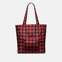 PACKABLE TOTE WITH GINGHAM PRINT - F39649 - RUBY MULTI/BLACK ANTIQUE NICKEL