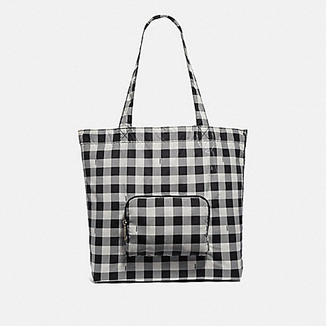 COACH F39649 PACKABLE TOTE WITH GINGHAM PRINT<br>蔻驰收藏手提包与格子印 黑色或银色