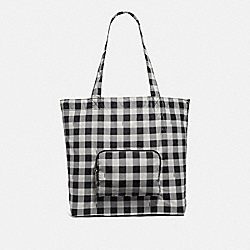 COACH F39649 Packable Tote With Gingham Print BLACK/MULTI/SILVER