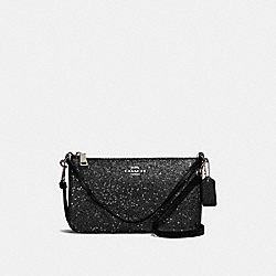 TOP HANDLE POUCH WITH STAR GLITTER - F39656 - BLACK/SILVER