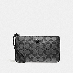 COACH F39667 Large Wristlet In Signature Canvas GUNMETAL/SILVER