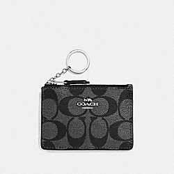COACH F39668 Mini Skinny Id Case In Signature Canvas GUNMETAL/SILVER