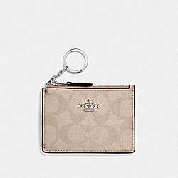 COACH F39668 Mini Skinny Id Case In Signature Canvas PLATINUM/SILVER