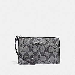 COACH F39669 Corner Zip Wristlet In Signature Canvas GUNMETAL/SILVER