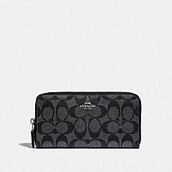 COACH F39670 Accordion Zip Wallet In Signature Canvas GUNMETAL/SILVER