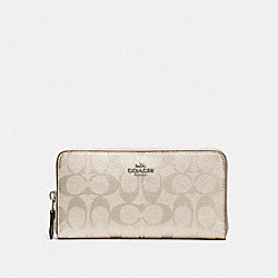 COACH F39670 Accordion Zip Wallet In Signature Canvas PLATINUM/SILVER