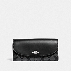 SLIM ENVELOPE WALLET IN SIGNATURE CANVAS - F39671 - GUNMETAL/SILVER