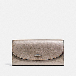 COACH F39671 Slim Envelope Wallet In Signature Canvas PLATINUM/SILVER