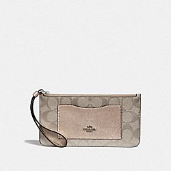 COACH F39672 Zip Top Wallet In Signature Canvas PLATINUM/SILVER