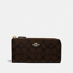 L-ZIP WALLET IN SIGNATURE CANVAS - F39673 - BROWN/BLACK/IMITATION GOLD