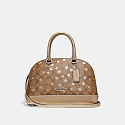 MINI SIERRA SATCHEL IN SIGNATURE CANVAS WITH POP STAR PRINT - F39676 - KHAKI MULTI /SILVER