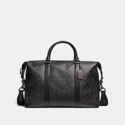 COACH F39677 - VOYAGER BAG 52 IN SIGNATURE CANVAS BLACK/BLACK/OXBLOOD/BLACK COPPER FINISH