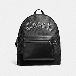 COACH F39700 - WEST BACKPACK IN SIGNATURE CANVAS WITH COACH SCRIPT CHARCOAL/BLACK/BLACK ANTIQUE NICKEL