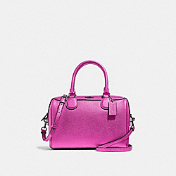 MINI BENNETT SATCHEL - F39706 - METALLIC CERISE/BLACK ANTIQUE NICKEL