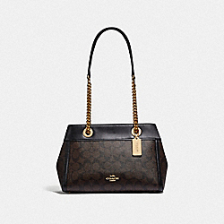 BROOKE CHAIN CARRYALL IN SIGNATURE CANVAS - F39711 - BROWN/BLACK/LIGHT GOLD
