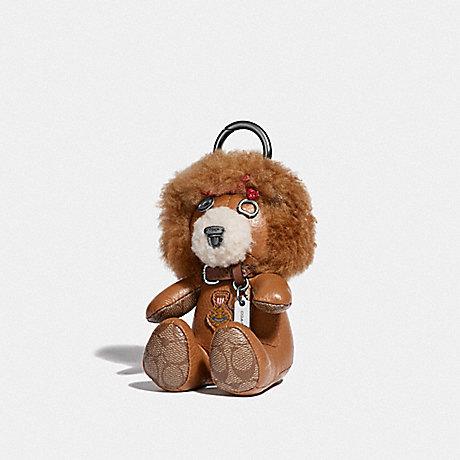 COACH LION BEAR BAG CHARM - LIGHT SADDLE/DARK GUNMETAL - F39718