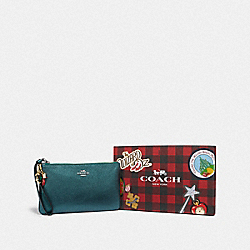 COACH F39730 Boxed Large Wristlet With Charms METALLIC EMERALD/SILVER
