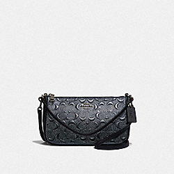 TOP HANDLE POUCH IN SIGNATURE LEATHER - COACH F39734 - CHARCOAL/BLACK ANTIQUE NICKEL