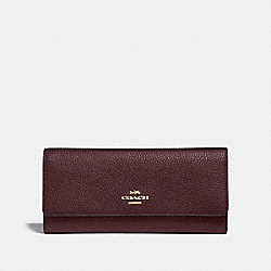 COACH F39745 - SOFT TRIFOLD WALLET GD/OXBLOOD