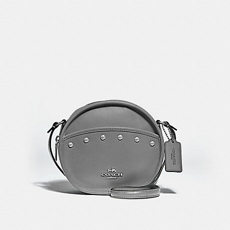 COACH F39752 CANTEEN CROSSBODY WITH LACQUER RIVETS<br>蔻驰食堂包包漆铆钉 HEATHER灰/银