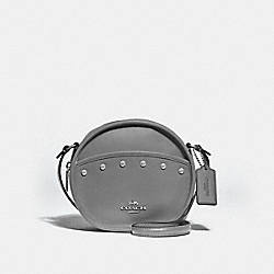 CANTEEN CROSSBODY WITH LACQUER RIVETS - F39752 - HEATHER GREY/SILVER