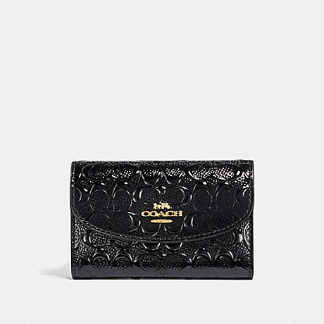 COACH F39753 BOXED KEY CASE IN SIGNATURE PATENT LEATHER GOLD/BLACK