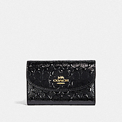 COACH F39753 - BOXED KEY CASE IN SIGNATURE PATENT LEATHER GOLD/BLACK