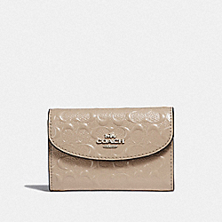 COACH F39753 Boxed Key Case In Signature Patent Leather SILVER/PLATINUM