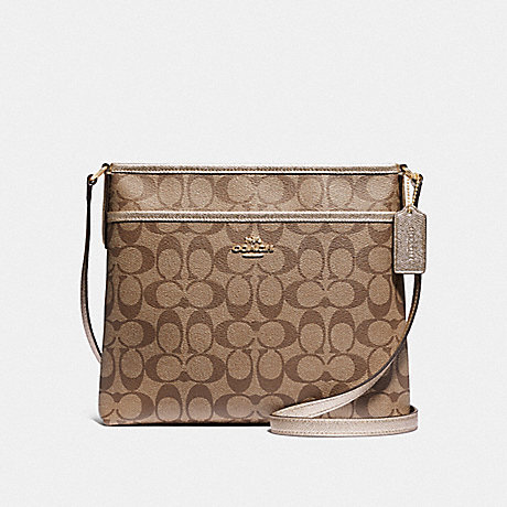 COACH F39757 FILE CROSSBODY IN SIGNATURE CANVAS GOLD/KHAKI/PLATINUM