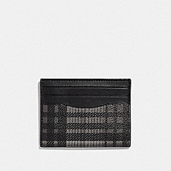 SLIM ID CARD CASE WITH TWILL PLAID PRINT - F39760 - GREY MULTI/BLACK ANTIQUE NICKEL