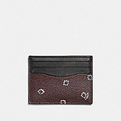 COACH F39761 - SLIM ID CARD CASE WITH SPIKY DIAMOND PRINT OXBLOOD MULTI/BLACK ANTIQUE NICKEL