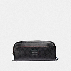 COACH F39764 - OVERNIGHT TRAVEL KIT IN SIGNATURE CANVAS BLACK/BLACK/OXBLOOD