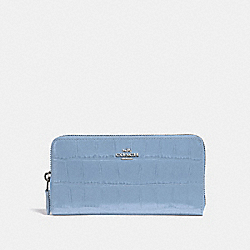 COACH F39767 Accordion Zip Wallet CORNFLOWER/SILVER