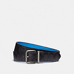 DAPPED COACH ROLLER CUT-TO-SIZE REVERSIBLE BELT IN SIGNATURE CANVAS - F39769 - NEON BLUE/BLACK BLACK/BLACK ANTIQUE NICKEL