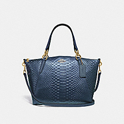SMALL KELSEY SATCHEL - F39779 - METALLIC DENIM/LIGHT GOLD