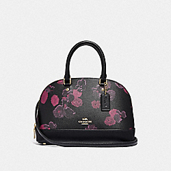 COACH F39822 Mini Sierra Satchel With Halftone Floral Print BLACK/WINE/LIGHT GOLD