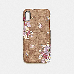IPHONE X CASE IN SIGNATURE CANVAS WITH FLORAL BUNDLE PRINT - F39845 - KHAKI MULTI