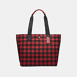COACH F39848 Tote With Gingham Print RUBY MULTI/BLACK ANTIQUE NICKEL