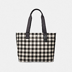 COACH F39848 Tote With Gingham Print BLACK/MULTI/SILVER
